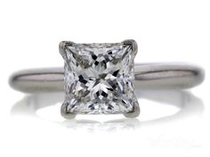 This timeless GIA 1.60 CT princess cut solitaire ring was sold at auction for $7,560