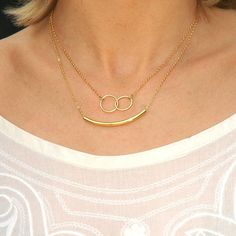 Gold Curved Tube Necklace infinity necklace by AshbeeJewelry