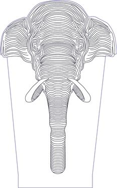 3D illusion elephant head premium vector drawing