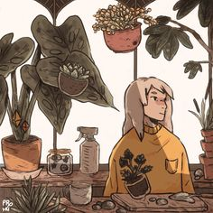 """Garden Witch :) culturenlifestyle: """"Whimsical Animated GIFs Capture the Beauty of Solitude by Ivy Berces Sixteen-year-old artist Ivy Berces composes stunning whimsical illustrations, which pay an homage to the beauty. Kunst Inspo, Art Inspo, Art And Illustration, Pretty Art, Cute Art, Animation, Character Art, Character Design, Inspiration Artistique"""