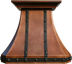 "Made To Order Copper Hood ""Columbus"" Model Columbus can be used for a gas or electric range in any high ceiling kitchen to add country flavor. #mycustommade"
