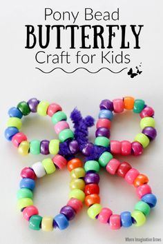 Pipe cleaner and pony bead butterfly craft for kids! A simple spring craft for toddlers and preschoolers using basic craft supplies. Threading beads and twisting pipe cleaners is all it takes! Great for fine motor skills and hand-eye coordination! Use with spring, bugs, and butterfly lesson plans. Makes an easy last-minute craft too. #butterflycrafts #preschoolcrafts #beading #beadcrafts #finemotor #springcrafts Spring Toddler Crafts, Fun Crafts For Kids, Preschool Crafts, Summer Crafts, Preschool Worksheets, Pipe Cleaner Crafts, Pipe Cleaners, Pony Bead Crafts, Beading For Kids