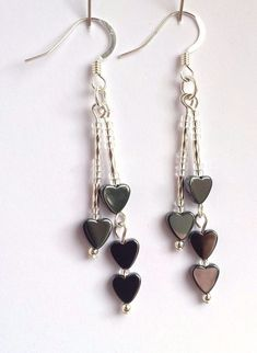 £10.0 GBP - Hematite And Sterling Silver Double Drop Heart Earrings H12 Handmade In The Uk #ebay #Fashion