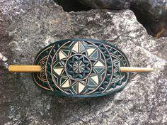 Geometrical green hand carved leather hair barrette  hair