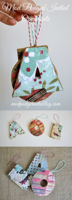 Use wood or paper mache letters to create these fun, personalized Mod Podge ornaments. They are easy to make with Mod Podge Gloss.