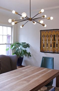 Midcentury Modern brass steel Sputnik Chandelier by ninosheadesign - Modern Dining Dining Room Light Fixtures, Dining Lighting, Kitchen Lighting, Mid Century Light Fixtures, Modern Light Fixtures, Light Fittings, Modern House Design, Modern Interior Design, Contemporary Design
