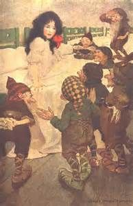 7 Dwarfs Fairy - An antique vintage illustration print by Edwardian illustrator Jessie Willcox Smith The Little Match Girl, The Little Mermaid, Snow White Drawing, What Is A Fairy, White Brothers, Princess And The Pea, People Of Interest, Fairytale Art, Woodland Creatures