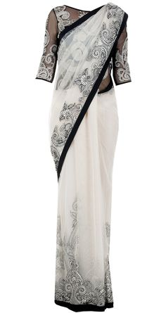 Black and white sari with applique work by VARUN BAHL. http://www.perniaspopupshop.com/designers-1/varun-bahl