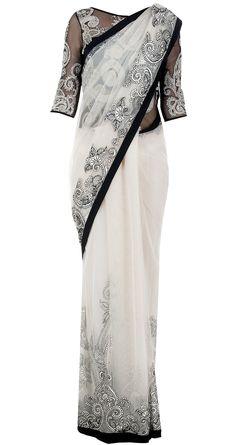 Black and white sari with applique work by VARUN BAHL. http://www.perniaspopupshop.com/designers-1/varun-bahl