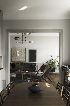 Living Room Designs, Living Room Decor, Dining Room, Stockholm Apartment, Parisian Apartment, Minimalist Apartment, Interior Minimalista, Design Furniture, Plywood Furniture