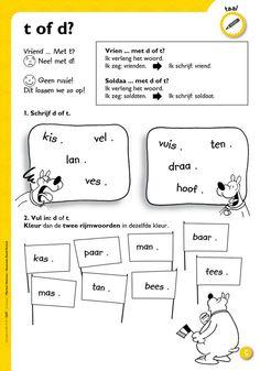 Afbeeldingsresultaat voor d of t werkblad Speech Language Therapy, Speech And Language, School Lessons, School Hacks, Aperol, Dutch Language, 2nd Grade Worksheets, Teachers Aide, School Posters