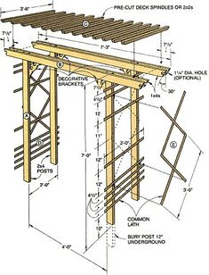 This arbor is easy on the pocketbook and a snap to build. In fact, if you like, you can eliminate most of the cutting by asking the lumberyard to cut the wood to length for a small fee. ideas attached to house How to Build a Simple Entry Arbor Wooden Pergola, Backyard Pergola, Pergola Plans, Backyard Landscaping, Cheap Pergola, Gazebo, Wood Arbor, Wedding Backyard, Pergola Carport