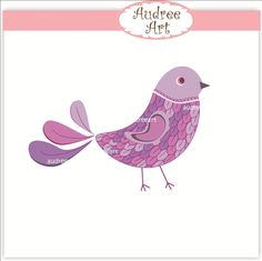 Bird clip art, purple bird, bird clip art, bird clipart 5402. $3.80, via Etsy.