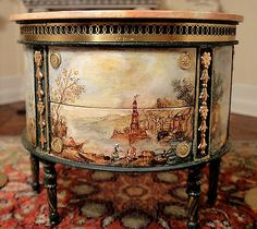 IGMA Artisan Janet Reyburn's Handpainted 18th Century Half Moon Commode - Signed