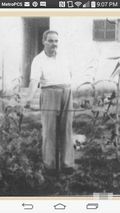 """ Grandpa Dr. Lein Farh in Gev'at Shmuel Y'zrael in he ve Rachel garden, circa abt 1946 ish ""dark"" kinky hair Ladino Jews/ Hebrews Sho ah Survivors Rachsel Semi Wools memoirs ""For Better Or Worse"""