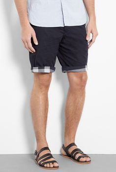 Navy Check Lined Cotton Shorts by Burberry Brit