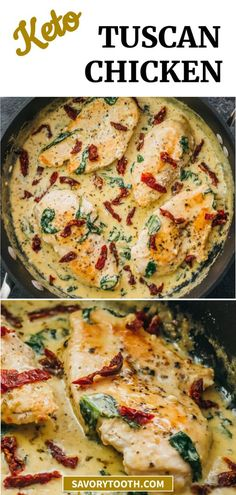 Tuscan Chicken — This easy chicken skillet dinner has garlic, sun-dried tomatoes, and spinach in a creamy buttery sauce. This is a comforting one-pan meal naturally low carb, keto, and gluten free.