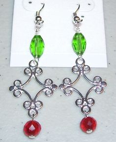 Green Red & Silver Christmas Earrings 1 by mommazart on Etsy, $8.00