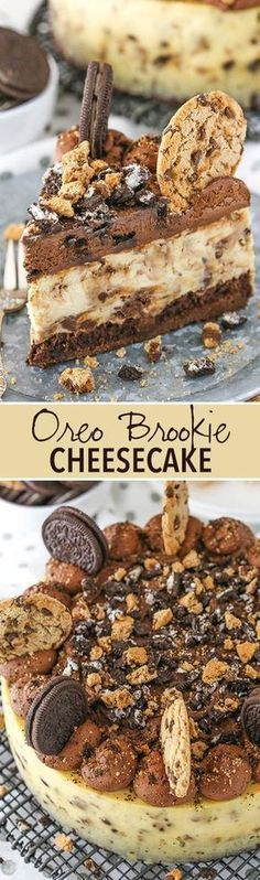 Oreo Brookie Cheesecake - a layer of brownie, chocolate chip cookie cheesecake and Oreo whipped cream!