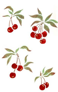 Cherry stencil depicts four clumps of sweet ripe cherry