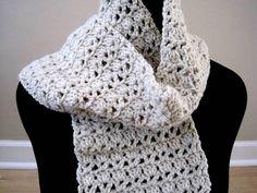 beige womens crochet scarf neutral tan crochet by ArrayOfCrochet, $25.00