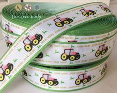 1 Pink-Tractor-Grosgrain-Ribbon by the by LiveLoveMake2 on Etsy