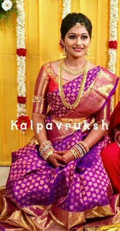 Simple and Elegant South Indian Bride - South Indian bride on budget Wedding Saree Blouse Designs, Pattu Saree Blouse Designs, Half Saree Designs, Indian Bridal Sarees, Bridal Silk Saree, Saree Wedding, Wedding Bride, Blouse Models, Indiana