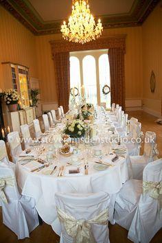 Swinton Park library set for a wedding reception dinner