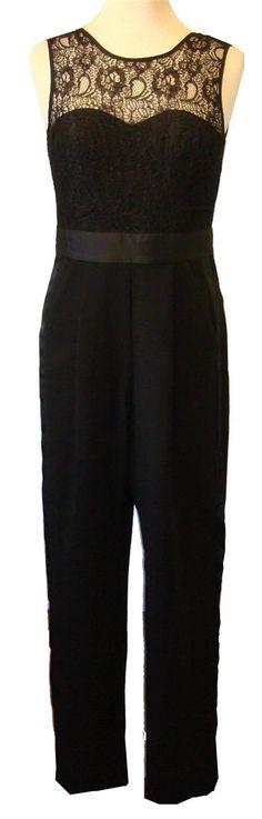 BCBGeneration Black Jumpsuit With Lace, Tuxedo Stripes & Pockets