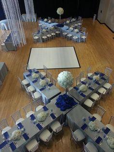 silver blue wedding, white hydrangea centerpiece, silver chiavari chair, bling wedding, unique table floor plan