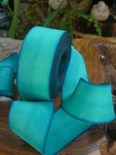 Turquoise silk ribbon
