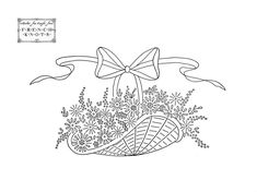 vintage embroidery patterns | Daisies, Butterflies and Basket Embroidery Transfer Patterns