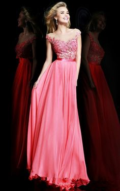 2014 Coral Nude Embellished Long Prom Dresses - Click Image to Close