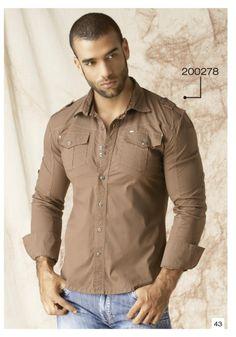 Camisa-manga-larga-color-cafe