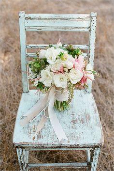 burlap wedding decorations | Burlap, Lace, and White Ribbon Wedding Bouquet - Ribbons