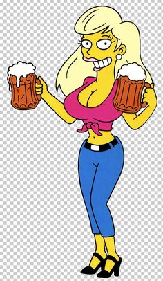 """Titania is a bartender who has worked at Juggernauts and Knockers. She competed in the """"Beer-Tender of the Year"""" contest at the Duff Days festival. Titania has very large breasts, and she uses them to her advantage. The Simpsons, Simpsons Toys, Simpsons Characters, Homer Simpson, Beer Cartoon, Cartoon Art, Cartoon Pics, Comic Book Guy, Ralph Wiggum"""