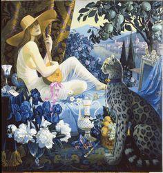 blue - woman with cat - figurative painting - Guenrich Hozatski