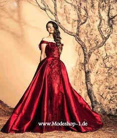 Schulterfreies Weinrotes Brautkleid Hochzeitskleid