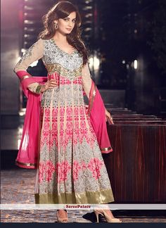 Diya Mirza Style Beige Faux Georgette And Net Anarkali Suit