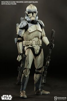Wolfpack Clone Trooper - 104th Battalion Figure from Star Wars Clone Wars, Sideshow Collectibles 100195 Wolfpack Clone Trooper - 104th Battalion Figure from Star Wars Clone Wars. It is made by Sideshow Collectibles and is 1:6 scale (approx. 30cm / 11.8in high). Inspired by Sergeant Sinker in Star Wars: The Clone Wars, Sideshow Collectibles is proud to introduce the Wolfpack Clone Trooper: 104th Battalion Sixth Scale Figure from our Militaries of Star Wars collection. Under the command of ...
