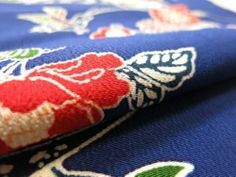 "Japanese Kimono Silk Fabric Dark Blue Camellia Bird Bingata Dyeing 47"""