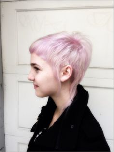 Elvin asymmetrical short haircut with pink and white. by Lamharzi Love