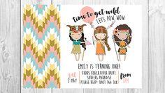 Tribal Girls Birthday Invitation / Pow Wow / Invite / Etsy / Design / Printable / Personalised / Modern