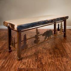 Aspen Metal Dining Bench shown in Bear Scene | rustic log furniture