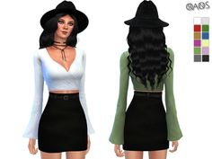 The Sims Resource: Wrapped Bell Sleeve Top by OranosTR • Sims 4 Downloads