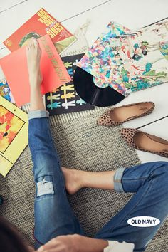 Distressed jeans + animal print shoes + favorite vinyl = one perfect weekend.