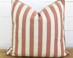 Cushion Cover - Adobe Stripe with Russet Linen Piping Plastic Planter, Plastic Pots, Bench Seat Covers, Striped Cushions, Red Stripes, Soft Fabrics, Printing On Fabric, Throw Pillows, Seat Covers