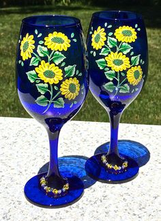 Hand Painted Blue Wine Glasses With Yellow Flowers and Wine Glass Charms, Birthday Gift, Wedding Shower Gift, Anniversary Gift, Gift For Her