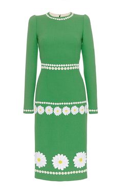 Wool Long Sleeved Dress With Floral Applique by DOLCE & GABBANA Now Available on Moda Operandi