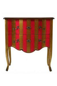 Fushia Gold Cirque Striped Chest of Drawers